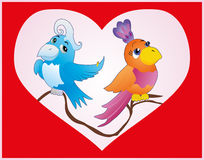 Red  card with birds in love Stock Photo