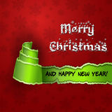 Red card with Christmas Tree made of torn paper. Merry Christmas and Happy new year red card with green torn paper with the form of a tree royalty free illustration