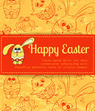 Red card with Easter bunny Royalty Free Stock Photos