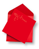 Red card and envelope with Stock Photography