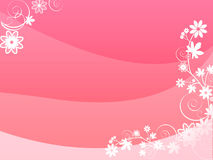 Red card with flowers. Pink card with flowers illustration Royalty Free Stock Photo