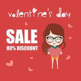 Discount coupon card valentines royalty free illustration