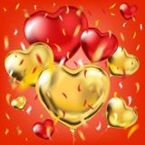 Red card with the gold and red foil heart shape balloons. And colored confetti in air. Vector template for Valentines Day, birthday, night party and any holiday royalty free stock photo