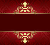 Red card with gold tracery and pattern - vector Stock Images