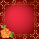 Red card with golden borders - vector Stock Image