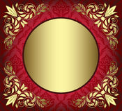 Red card with golden decor in the corners Royalty Free Stock Photography