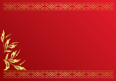 Red card with golden decoration - vector. Vector red card with golden decoration Royalty Free Stock Images