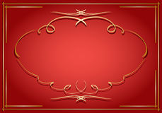 Red card with golden decorations Stock Photos