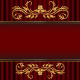 Red card with golden floral border stock photos