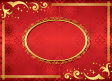 Red card with golden frame - vector. Vector red card with golden frame Stock Photos