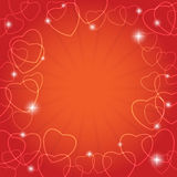 Red vector card with hearts for valentine day Royalty Free Stock Image
