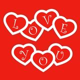 Red card with paper hearts for Valentines day Stock Photo