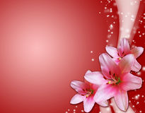 Red card with pink flowers Stock Photography