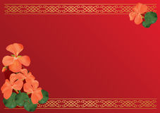 Red card with pink flowers - vector Stock Image