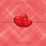 Red card sealed with hearts - vector. Red vector card sealed with hearts - eps10 Royalty Free Stock Image