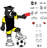 Red card Wild boar soccer cartoon expressions set Stock Photo