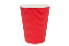 Red  cardboard cups for hot drinks Stock Image