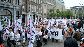 Red Care manifestation at the Damrak square in Amsterdam, Netherlands, stock video footage