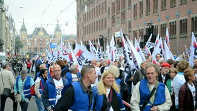 Red Care manifestation at the Damrak square in Amsterdam, Netherlands, stock video