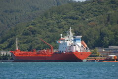 Red Cargo boat Stock Photography