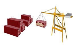 Red Cargo Container Being Hoisted By A Crane. A Container Crane Lifting A Red Freight Container from Stack To A Ship, Container Crane Is A Heavy Machine for Royalty Free Stock Image
