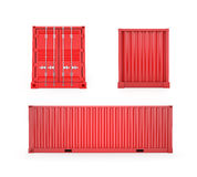 Red Cargo Container, Clipping Path Royalty Free Stock Photography