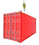 Red Cargo Container Hoisted By Hook. Isolated on White Background. 3D Illustration. Transportation Concept. Template For Your Design Royalty Free Stock Photography