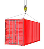 Red Cargo Container Hoisted By Hook. Isolated on White Background. 3D Illustration. Transportation Concept. Template For Your Design Royalty Free Stock Photo