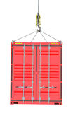Red Cargo Container Hoisted By Hook. Isolated on White Background. 3D Illustration. Transportation Concept. Template For Your Design Stock Photo