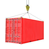 Red Cargo Container Hoisted By Hook Stock Images