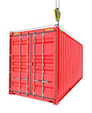 Red Cargo Container Hoisted By Hook Stock Image