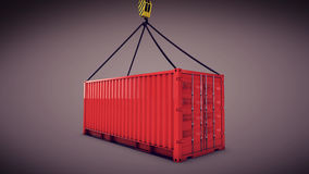 Red cargo container with a hook Royalty Free Stock Images