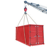 The red cargo container with a hook on a white background Stock Photos