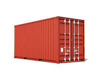 Red cargo container isolated on white, 3d render Stock Photo