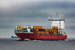 Red cargo container ship Royalty Free Stock Photos