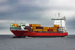 Red cargo container ship Royalty Free Stock Image