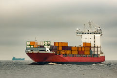 Red cargo container ship Royalty Free Stock Images