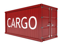 Red cargo container with text label isolated on white background Stock Photography