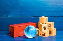 Free Red Cargo Container With Boxes And Blue Globe Of Planet Earth. Global International Trade In Goods. World Economy, Economic Ties. Royalty Free Stock Photo - 204660395