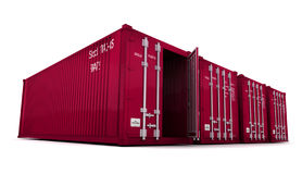 Red cargo containers with open door Royalty Free Stock Photo