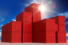 Red Cargo Containers Royalty Free Stock Image