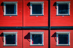 Red cargo containers used as home Stock Photo