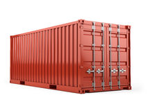 Red cargo freight shipping container against a white background Royalty Free Stock Images
