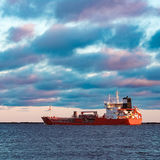 Red oil tanker. Red cargo oil tanker moving to Baltic sea Stock Images