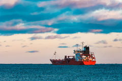 Red oil tanker. Red cargo oil tanker moving to Baltic sea Stock Image