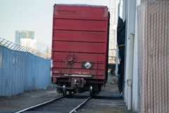 Red cargo railroad cart royalty free stock photos