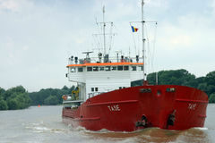 Red cargo ship Royalty Free Stock Photos