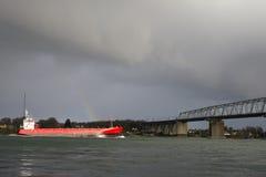 Red Cargo Ship Stock Photo
