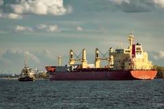 Red cargo ship Stock Photos