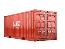 Red cargo shipping container against a white background Royalty Free Stock Image